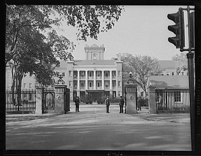 The front gate of the Armory circa 1942